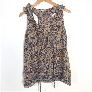 Joie Size XS Purple Yellow Floral V-Neck Tank Top